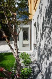 Závětří domu s teracovými omítkami a sklěněnou předstěnou